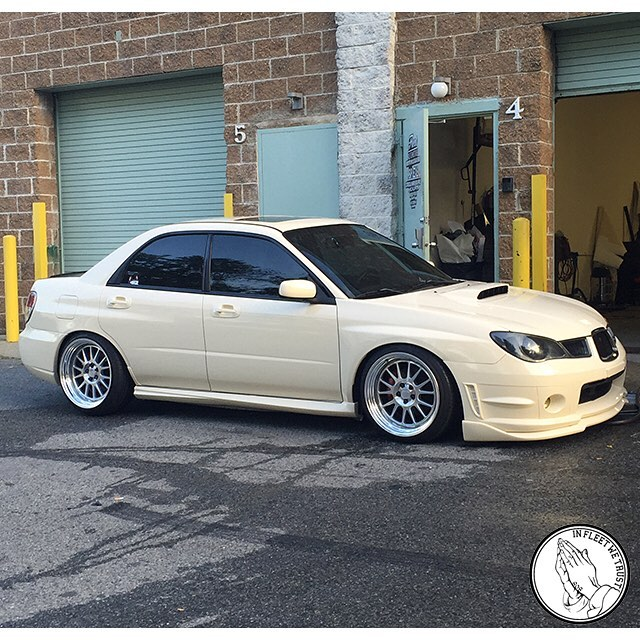 Subie WRX wrapped in Gloss Light Ivory vinyl