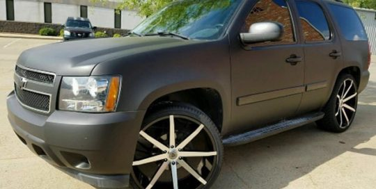 Chevy Tahoe wrapped in Avery SW Matte Black vinyl