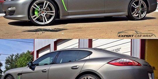 Porsche Panamera wrapped in Avery SW Gunmetal Metallic vinyl