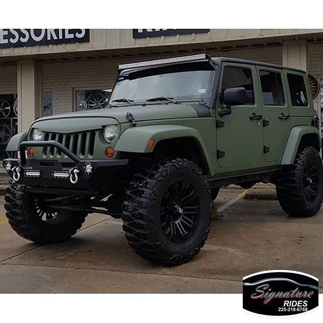 Chevrolet Truck Wrangler wrapped in Matte Military Green vinyl