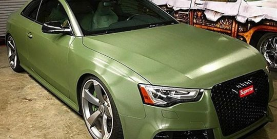 Audi RS5 wrapped in Matte Military Green with the new 8900 Brushed overlaminate vinyl