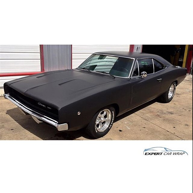 Dodge Charger 68 wrapped in Matte Deep Black vinyl