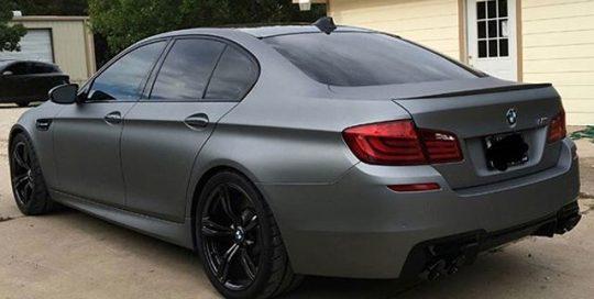 BMW M5 wrapped in Arlon UPP Matte Frozen Grey vinyl