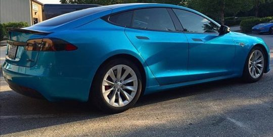 Tesla P90D wrapped in Gloss Atlantis Blue vinyl