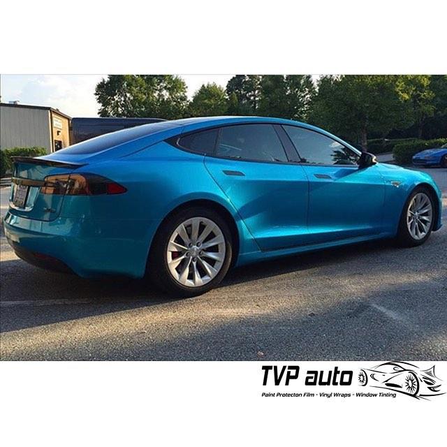 Tesla P90d Wrapped In Gloss Atlantis Blue Vinyl