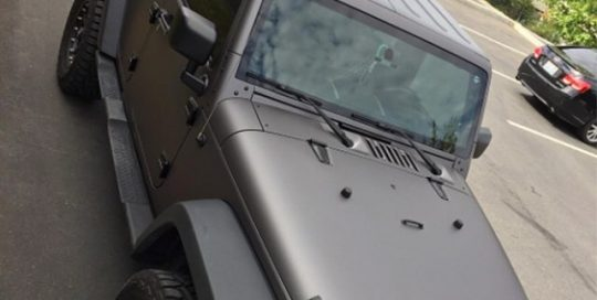 Jeep Wrangler wrapped in Avery SW Matte Charcoal Metallic vinyl