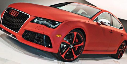 Audi RS7 wrapped in Arlon UPP Matte F1 Racing Red vinyl