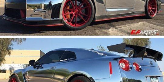 Nissan GTR wrapped in Avery SW Chrome vinyl