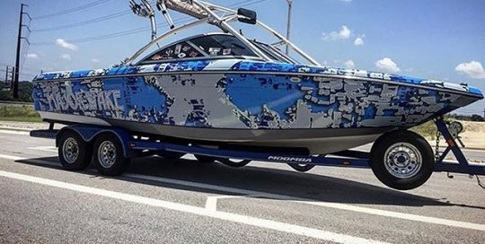 Moomba XLV Boat wrapped in custom printed 3M IJ180Cv3 vinyl