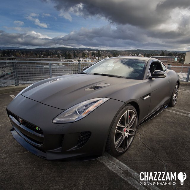 Jaguar F Type Wrapped In Matte Deep Black Vinyl