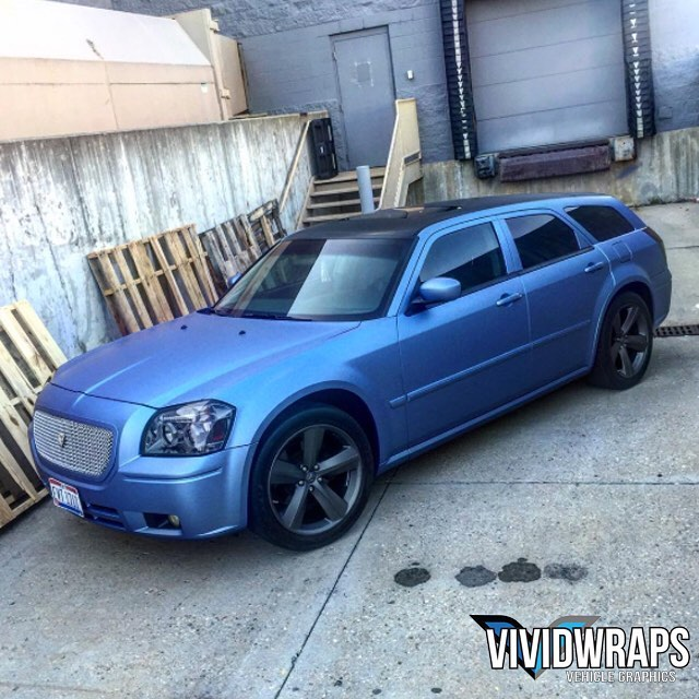 Dodge Magnum Wrapped In Avery Sw Powder Blue Metallic Vinyl