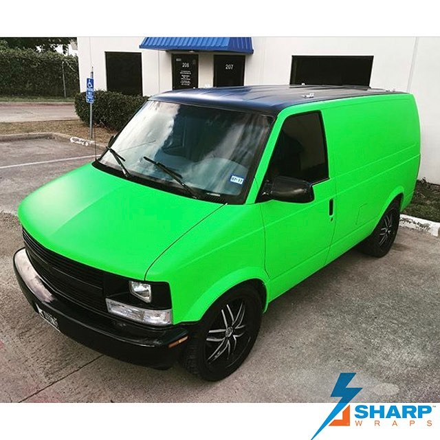 Chevy Astrovan wrapped in Satin Neon Fluorescent Green and Satin Black vinyls