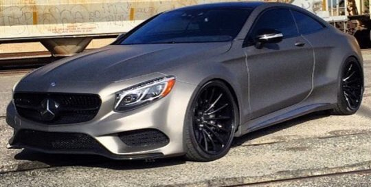 Mercedes Benz Coupe wrapped in Matte Charcoal Metallic vinyl