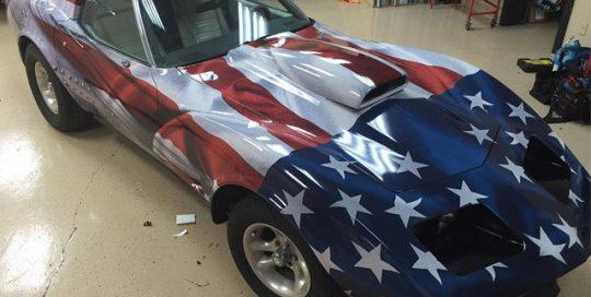 Chevy Corvette wrapped in custom printed Avery MPI 1005 vinyl