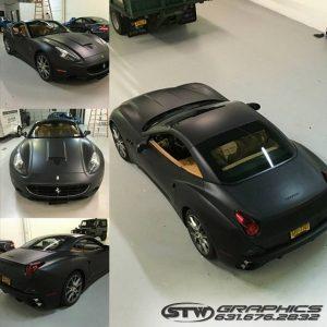 Ferrari California Wrapped In Matte Deep Black Vinyl Vinyl Wrap