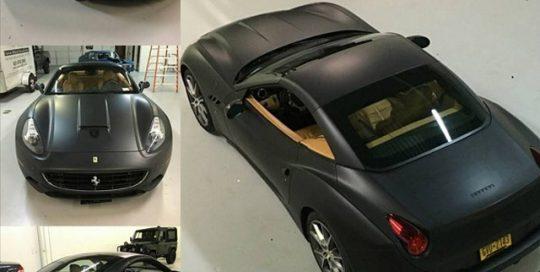 Ferrari California wrapped in Matte Deep Black vinyl