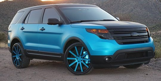 Ford Explorer wrapped in Satin Ocean Shimmer & 3M 680 Light Blue Reflective vinyl