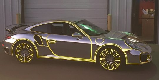 Porsche 911-Turbos wrapped in Avery SW Silver Chrome vinyl
