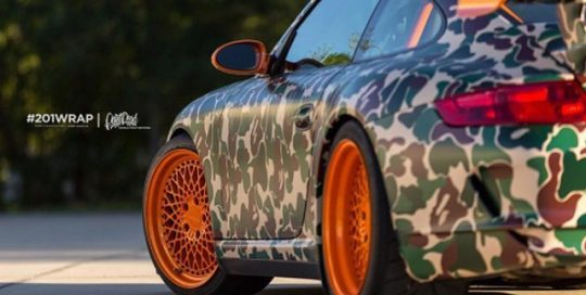 Porsche GT-3RS wrapped in custom printed Camo on Avery 1105 EZRS vinyl