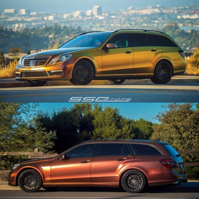 Mercedes Benz E63 Wagon wrapped in Avery's new Colorflow Rising Sun Red/Gold shade shifting vinyl