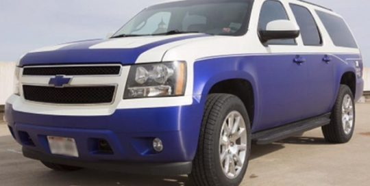 Chevrolet Tahoe wrapped in Satin Pearl White and Satin Mystique Blue vinyls with 8900 Brushed overlaminate