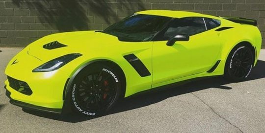 Chevy Corvette Z06 wrapped in Satin Neon Fluorescent Yellow vinyl