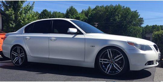 BMW wrapped in Satin Pearl White vinyl