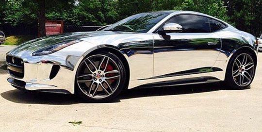 Jaguar F Type wrapped in Avery SW Chrome vinyl