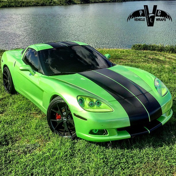 Chevy Corvette C6 wrapped in Avery SW Light Green Pearlescent and Satin Black vinyls