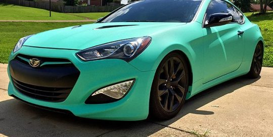 Hyundai Genesis Coupe wrapped in Avery SW Matte Vintage Green vinyl