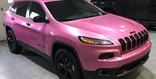 Jeep Cherokee wrapped in Gloss Raspberry Fizz vinyl