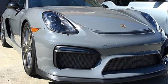 Porsche GT4 wrapped in Avery SW Gloss Dark Grey vinyl