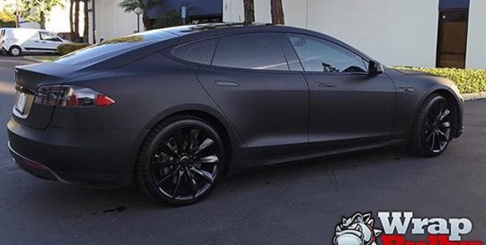 Tesla Models wrapped in Matte Deep Black vinyl