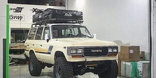 Toyota Land Cruiser wrapped in Orafol 970RA Gloss Taxi Beige vinyl