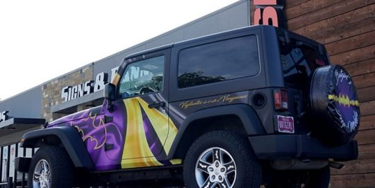 Jeep Wrangler wrapped in custom printed Avery 1105 and 1380z Matte Laminate