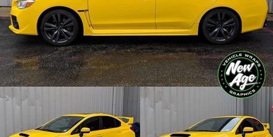 Subaru WRX wrapped in Avery SW Gloss Yellow vinyl