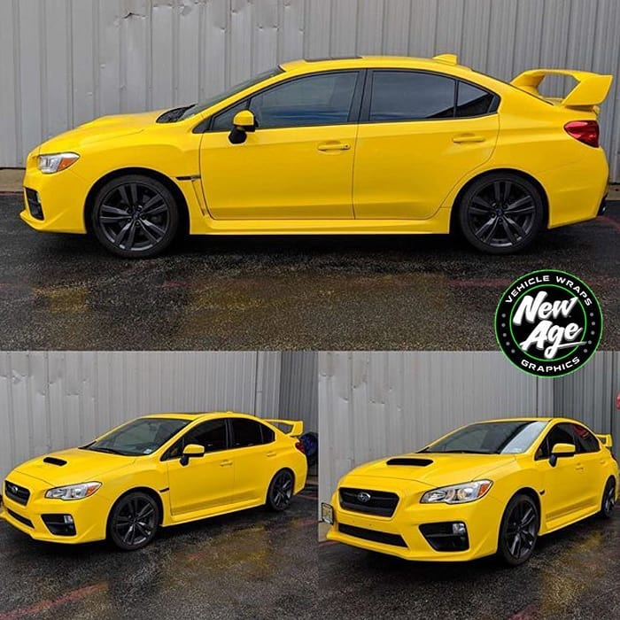 Subaru WRX wrapped in Avery SW Gloss Yellow vinyl