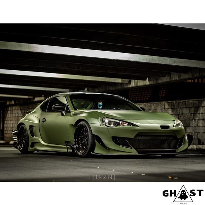 Subaru BRZ wrapped in Matte Military Green vinyl