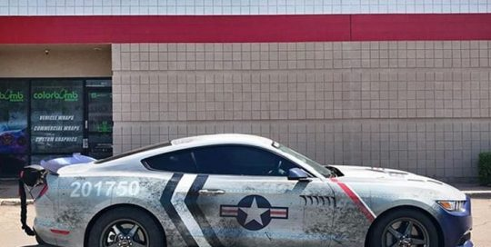 Ford Mustang wrapped in custom printed Avery 1105 vinyl with 1370z Luster overlaminate