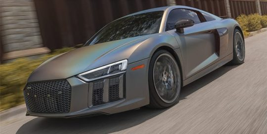 Audi R8 wrapped in new 3M Satin Flip Psychedelic vinyl