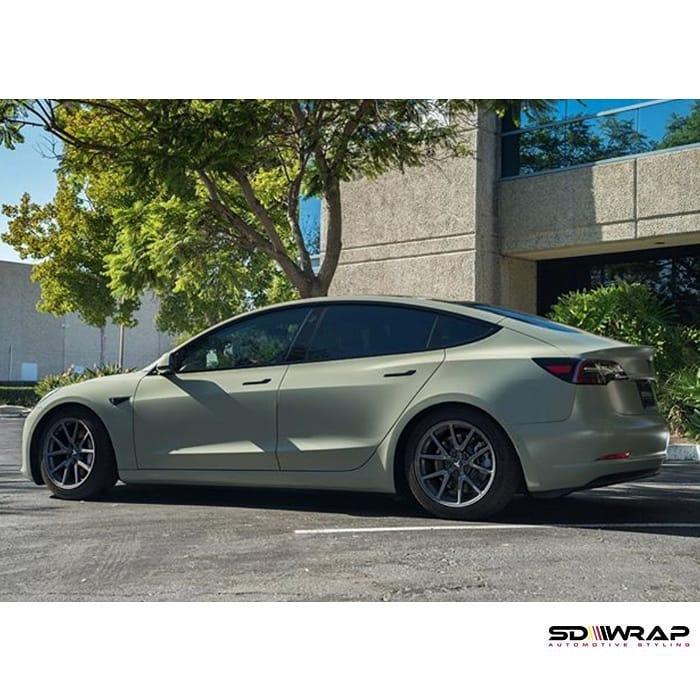 Tesla Model-3 wrapped in Avery SW Satin Khaki Green vinyl