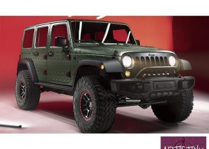 Jeep Wrangler wrapped in the new 3M 1080 Shadow Military Green vinyl