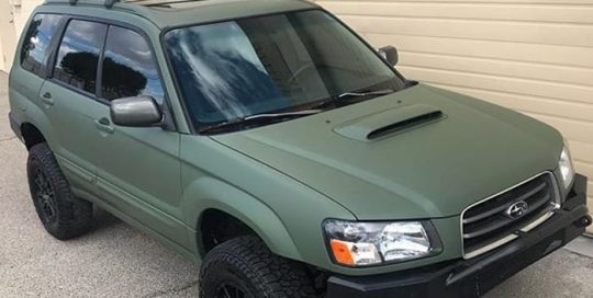 Subaru wrapped in 3M 1080 Matte Military Green vinyl