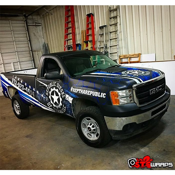 GMC wrapped in custom printed Avery 1105 vinyl with 1380z Matte overlaminate