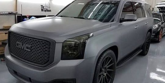 GMC wrapped in Avery SW Matte Charcoal Metallic vinyl