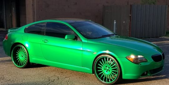BMW wrapped in 3M 1080 Gloss Green Envy vinyl