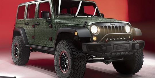 Jeep Wrangler wrapped in 3M 1080 Shadow Military Green vinyl