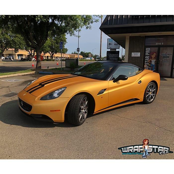 Ferrari wrapped in Avery SW Gold Chrome vinyl and1380z Matte Overlaminate