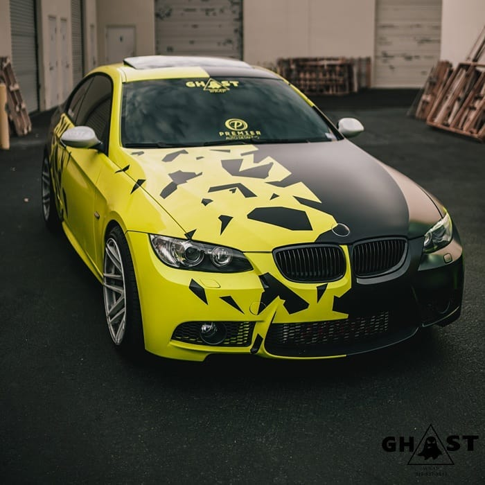 BMW wrapped in Avery SW Gloss Ambulance Yellow and Satin Black vinyls