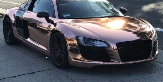 Audi R8 Wrapped in Avery SW Rose Gold Chrome Vinyl
